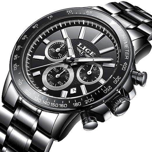 Reloj Hombre Clásico Impermeable de Acero Inoxidable Moda La Marca Cuarzo de Analógico con Calendario Cronógrafo: Amazon.es: Relojes
