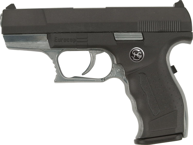 J.G.Schrödel Euro-Cop Pistole: Spielzeugpistole für Zündplättchen, ideal für das Polizeikostüm, 13 Schuss, auf Tester, 16.5 cm, schwarz (306 0961) 3060961 Karneval & Karneval / Karneval (Kostüme Schminke