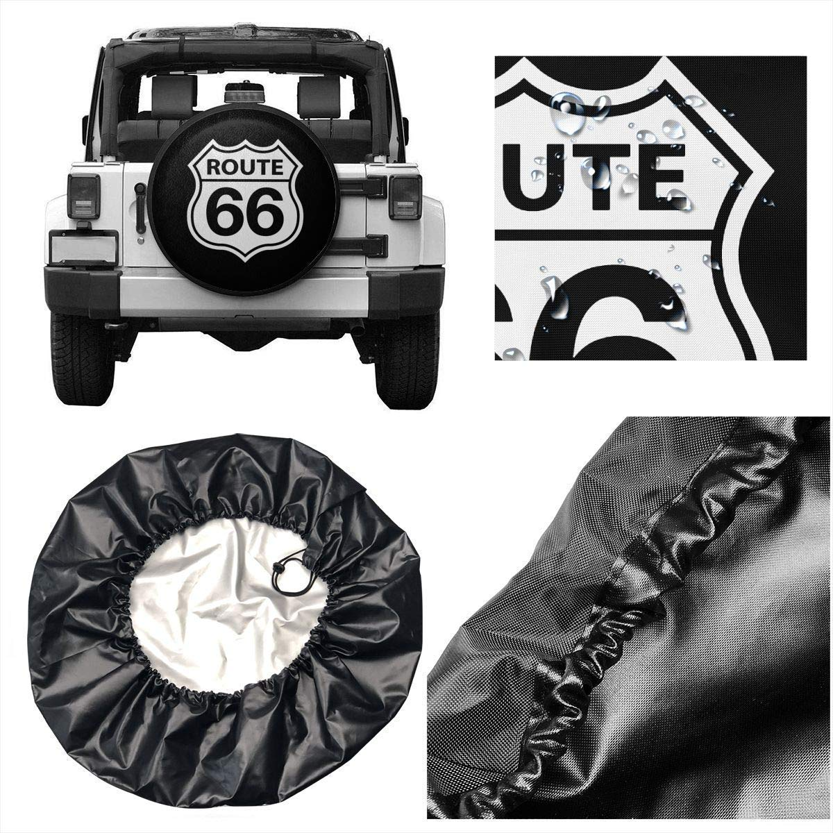 fengxutongxue Route 66 Vacation Highway Road Sign Polyester Universal Spare Wheel Tire Cover Wheel Covers Jeep Trailer RV SUV Truck Camper Travel Trailer Accessories 15 inch