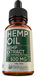 DrBotanic Nutrition Hemp Oil 500mg Drops Rich in Omega 3-6-9 Helps with Pain, Anxiety and Sleep