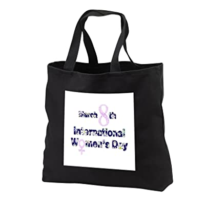 3dRose Numbers Letters Sayings - Image of Floral Letters Say International Womens Day - Tote Bags