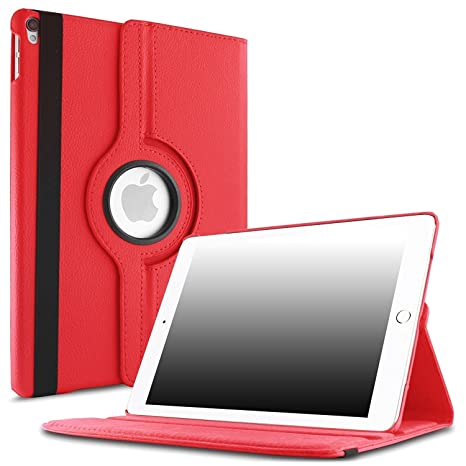 Cellwallpro 360 Degree Rotating Stand Flip Cover for iPad 2017 9.7 inch  A1822/A1823   Red
