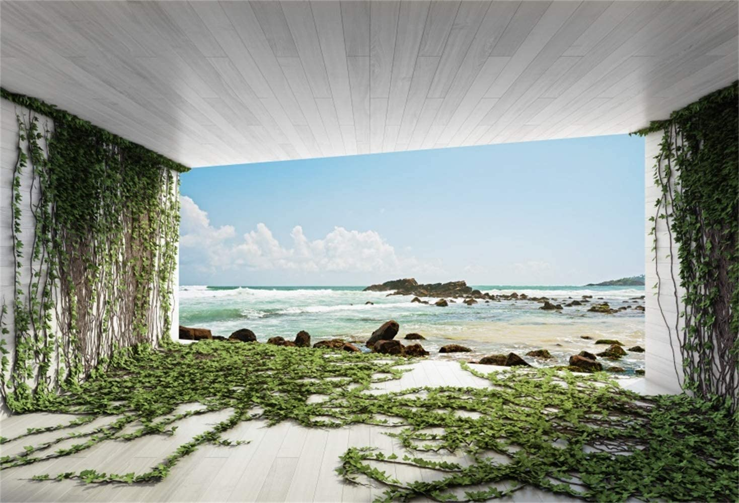 Laeacco 7x5ft Seaside Deserted Sea-View Room Vinyl Photography Background Empty Room Filled with Green Ivy Wooden Wall Floor Towards The Sea Rocks Backdrop Family Couples Holiday Vacation Studio