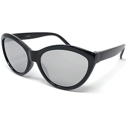 ef1b042381f6c LOOSE LEAF Eyewear Kids Girls Black Cat Eye Sunglasses in Silver Mirror  Lens with Unicorn Print
