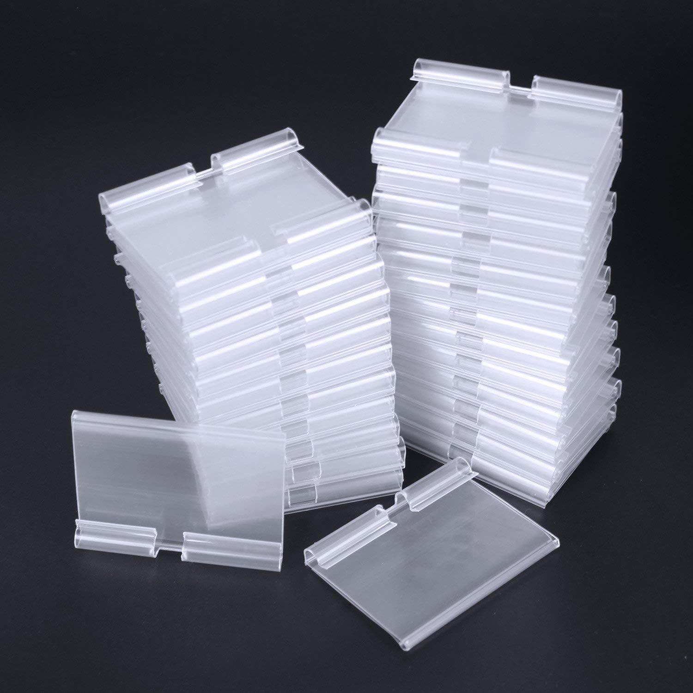 Supporti per etichette del prezzo Kit 50 portamendini per ganci a T Etichetta da 39 x 65 mm Trasparente