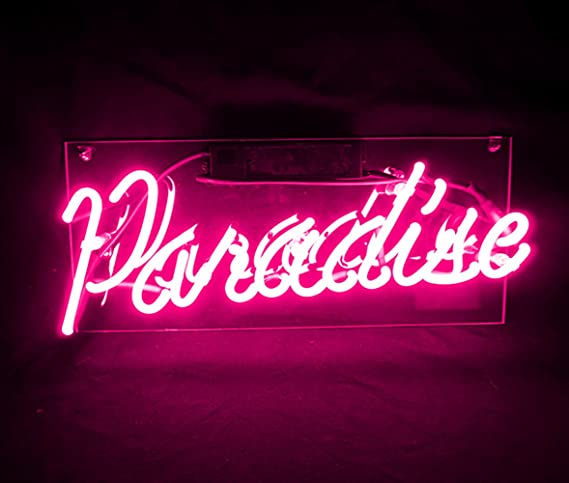 Cool Decorative Signs Pink Paradise Real Glass Neon Light Sign Lamp