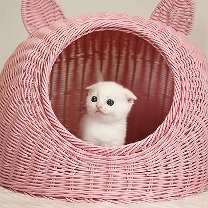 L&XY Rattan Gato Cama Casa Del Gato Cerrado Pet Nest Muebles Para Mascotas Portátil Gato Perro
