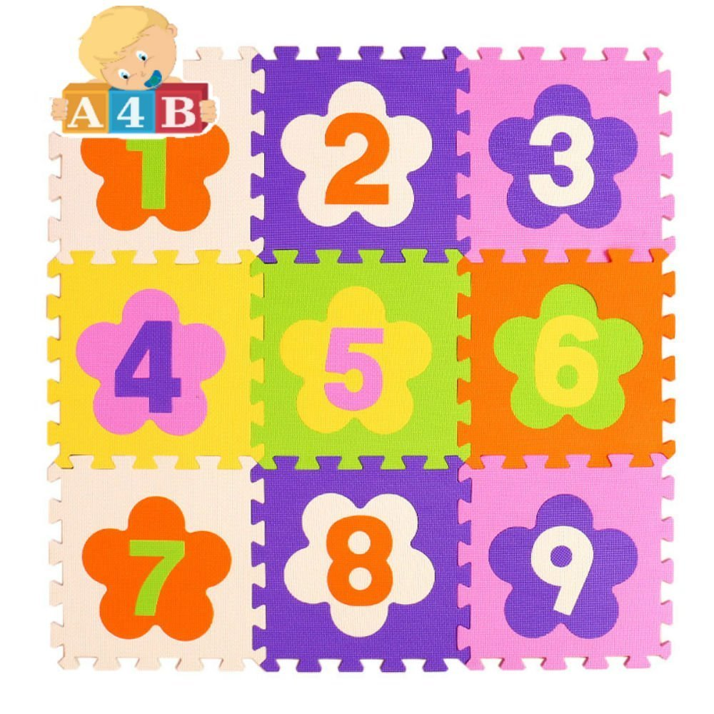 A4B Thick Number 9pcs Baby Play Puzzle Mat 3030cm Eva Interlocking Foam Kid Toy Children Activity Gym Carpet