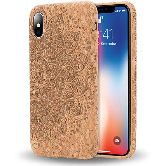 quality design 44fa8 567a9 NALIA Cork Case Compatible with iPhone X Xs, Ultra-Thin Wood Look Phone  Cover Slim Back Protector Natural Slim-Fit Protective Hardcase Skin  Shockproof ...