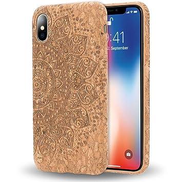 NALIA Corcho Funda Compatible con iPhone X XS, Aspecto de Madera Carcasa Dura Ultra-Fina Hard-Case Cover, Cubierta Protectora Delgado Telefono Movil ...
