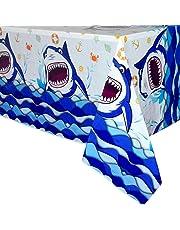 WERNNSAI Shark Party Tablecloth - 70.9'' x 43.3'' Rectangular Disposable Plastic Table Cover, Shark Splash Decorations for Boys Kids Birthday Baby Shower Ocean Shark Theme Party Supplies