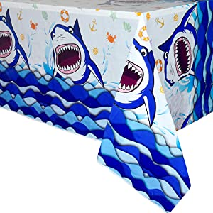 WERNNSAI Shark Party Tablecloth - 2 PCS 71'' x 43.3'' Rectangular Disposable Plastic Table Cover Shark Splash Decorations for Boys Kids Birthday Baby Shower Pool Blue Ocean Shark Theme Party Supplies