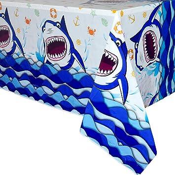 WERNNSAI Mantel de Tiburon Fiesta - 1 PCS 110 x 180cm Rectángulo Desechable El lastico Mantel, Salpicadura Tiburón Decoraciones para Muchachos Niños ...