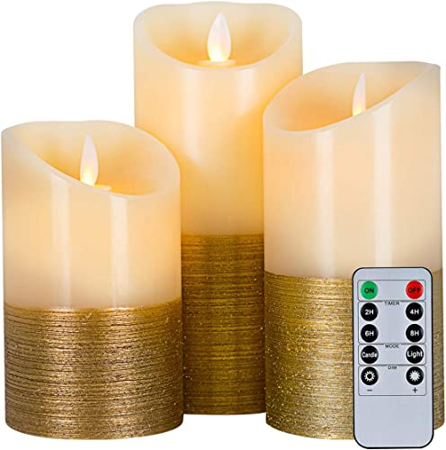 5plots Gold Flameless Candles -Battery Operated LED Candles with Remote and Timer, Golden Stripes Decorative Candles, Moving Flame, H 5 6 7 x D3 , Wax, Set of 3
