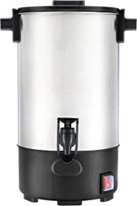 SYBO RCM035A Commercial Grade Stainless Steel Percolate Coffee Maker Hot Water Urn 30-Cup Capacity for Catering, 4.5 Liter, Silver