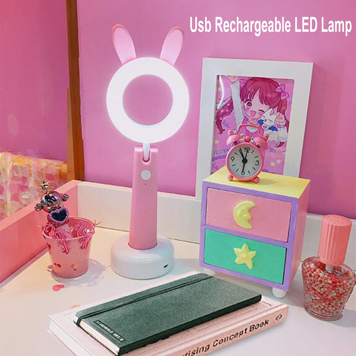 Desk Lamp for Kids, Lntly LED Animal Pet Cute Bunny Ear Desk Lamp,USB Rechargeable Desk Light Eye-Caring Children Studying Lamp, with 3 Dimming Levels for Bedroom Home School