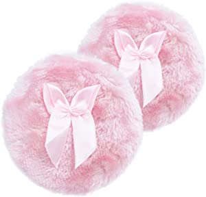 4 Inch Large Body Powder Puff, Soft and Furry Puff with Ribbon Handle, Set of 2 (Pink)