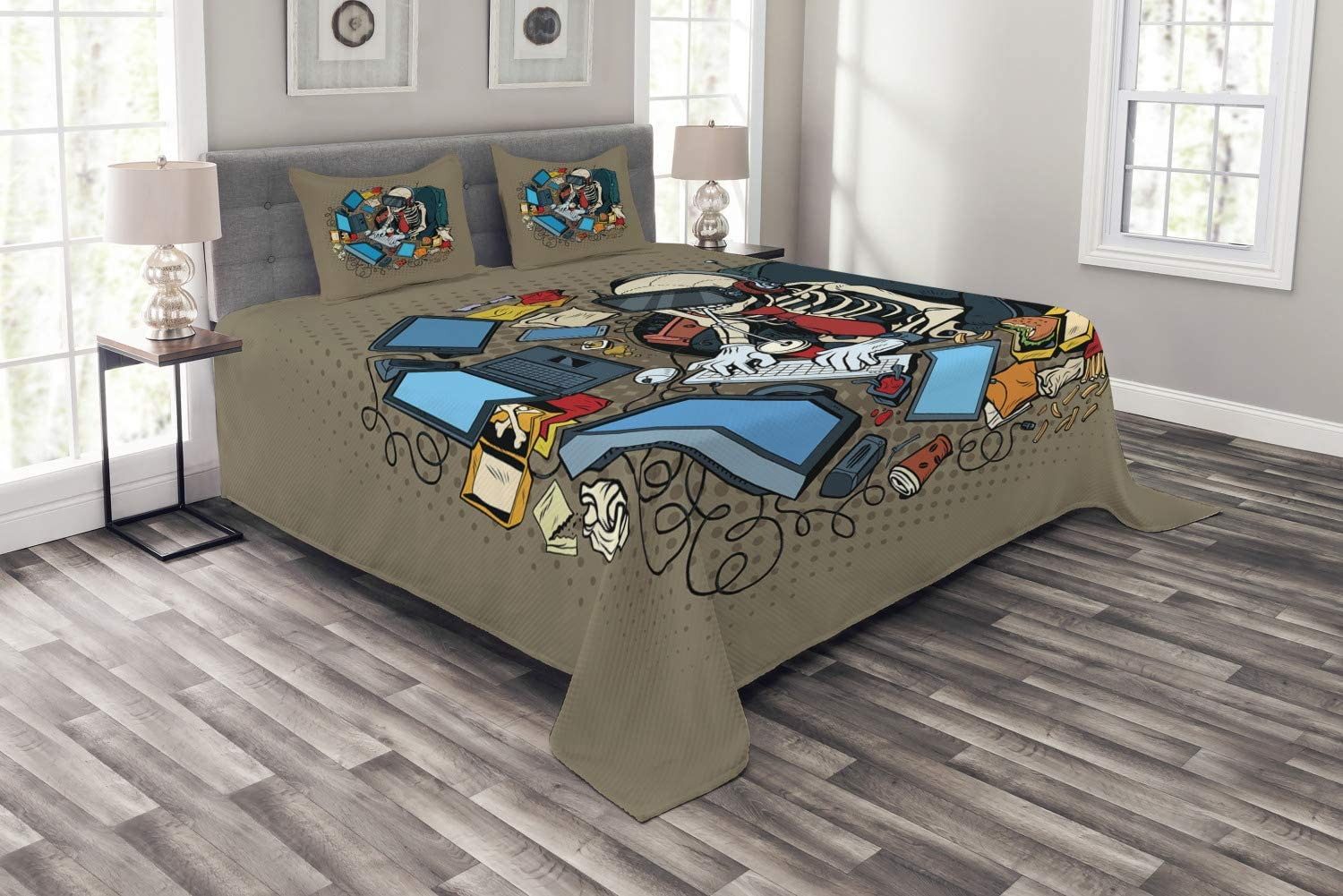 Ambesonne Gamer Bedspread, Skeleton Programmer and Hacker in Virtual Reality Eating Fast Food Theme Illustration, Decorative Quilted 3 Piece Coverlet Set with 2 Pillow Shams, Queen Size, Taupe Blue