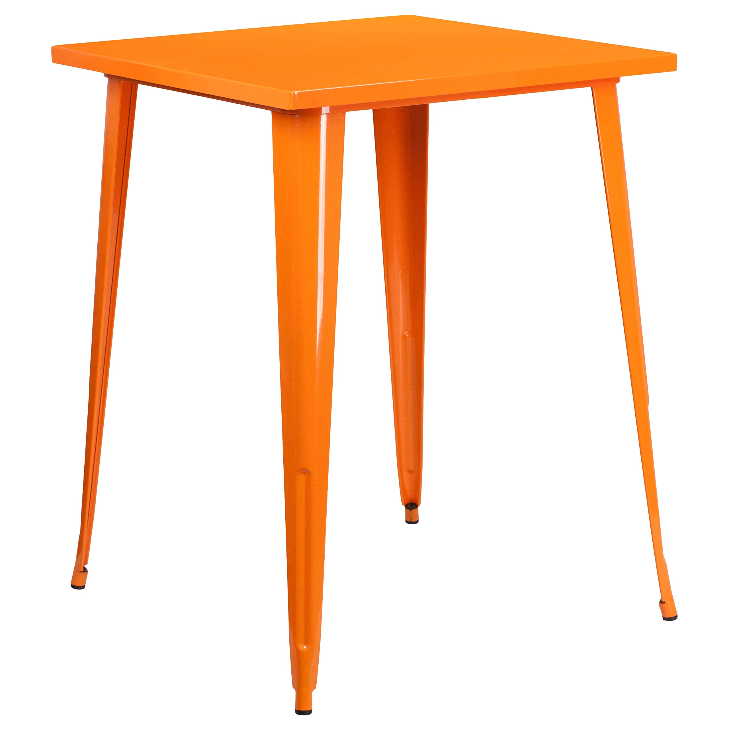 MFO 31.5'' Square Orange Metal Indoor-Outdoor Bar Height Table by My Friendly Office