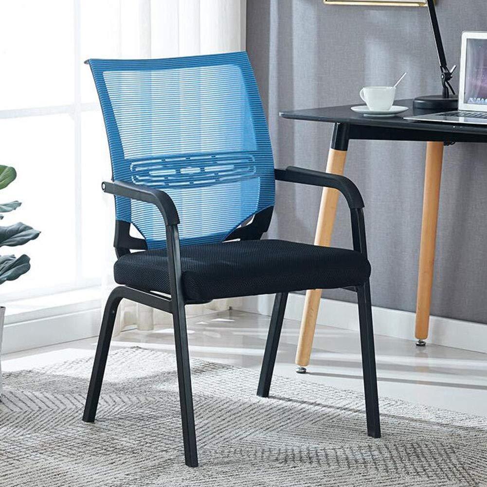 DALL kontorsstol ergonomisk dator skrivbordsstol andningsbar nätkonferensstol rosett fot personalstol 54 x 50 x 92 cm (färg: Blå) BLÅ