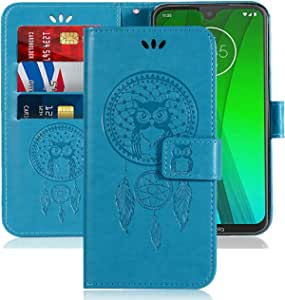 Case for Moto G7, Motorola Moto G7 Plus Case, Booceicd [Wrist Strap] Luxury PU Leather Wallet Flip Protective Phone Case Cover with Card Slots and Stand for Moto G7 XT1962 6.2 inch 2019 (Blue)