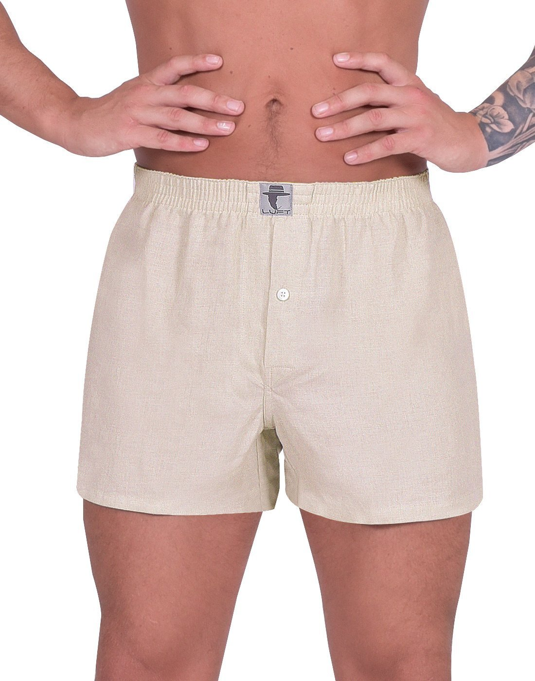 Luft Mens Boys Man Plus Size Linen Soft Stretch Comfortable Elastic Waistband Breathable Low Rise Fit Classic Functional Seamless Trunks Briefs Underpants Underwear Boxer Shorts, Light Brown Beige XL