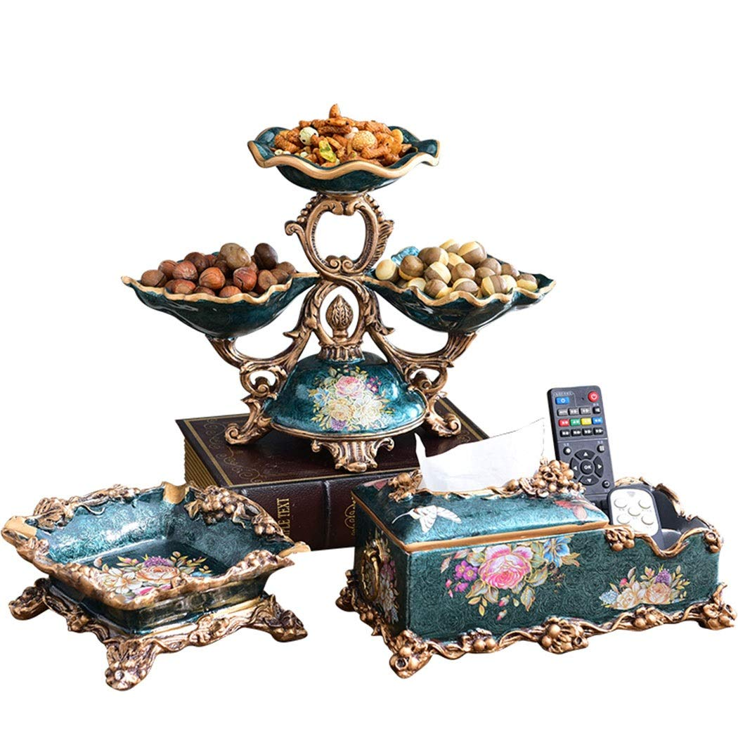 HONGNA American Dried Fruit Plate European Creative High-end Fruit Plate Living Room Coffee Table Luxury Three-Piece Retro Home Decorations (Ashtray Tissue Box Fruit Plate) (Color : Blue)