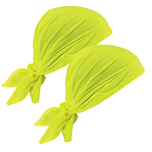 Ergodyne Chill-Its 6710CT Evaporative Cooling Dew Rag, Lime, 2-Pack