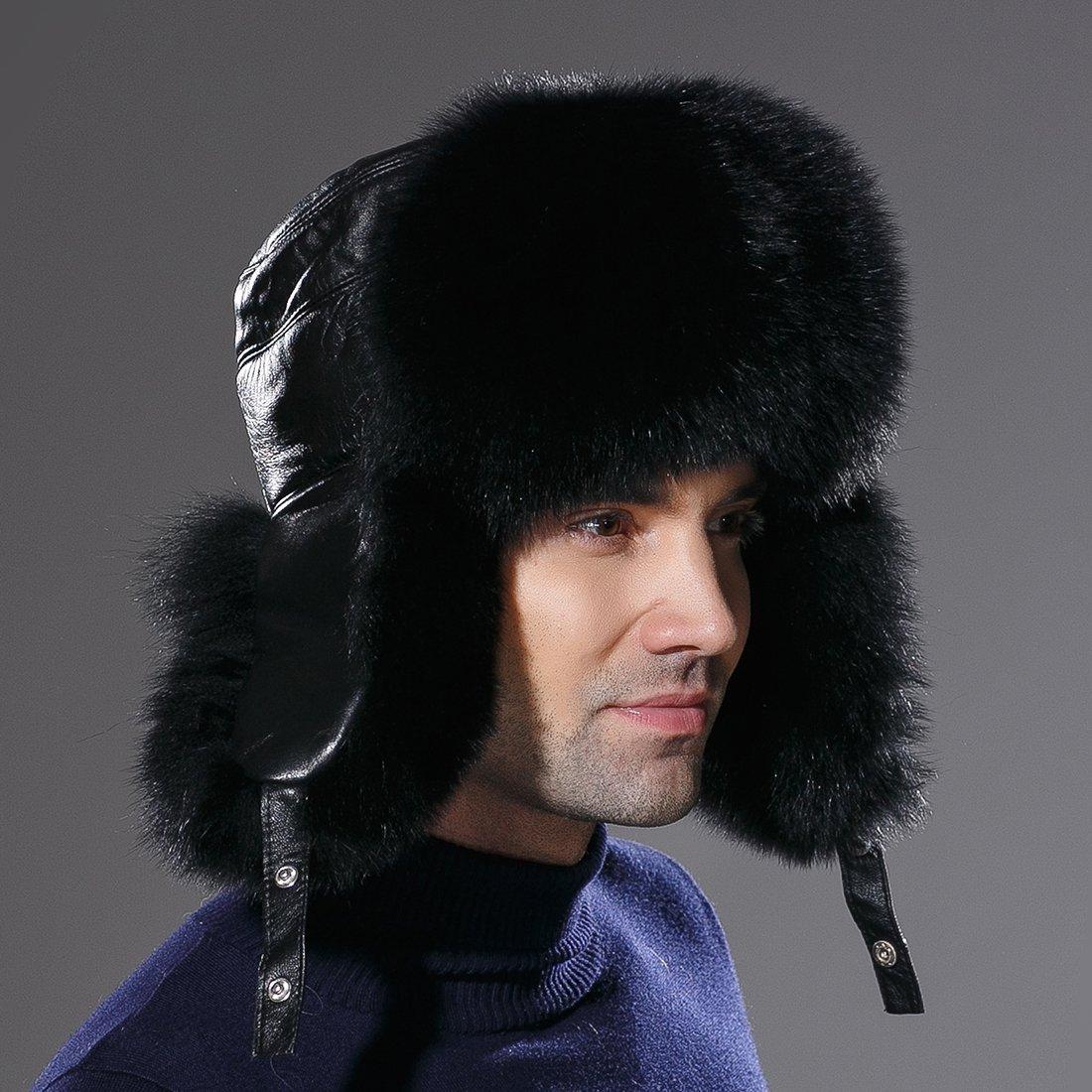 URSFUR Winter Russian Fur Hat Mens Real Fox Fur Ushanka Trapper Cap Black by URSFUR (Image #5)