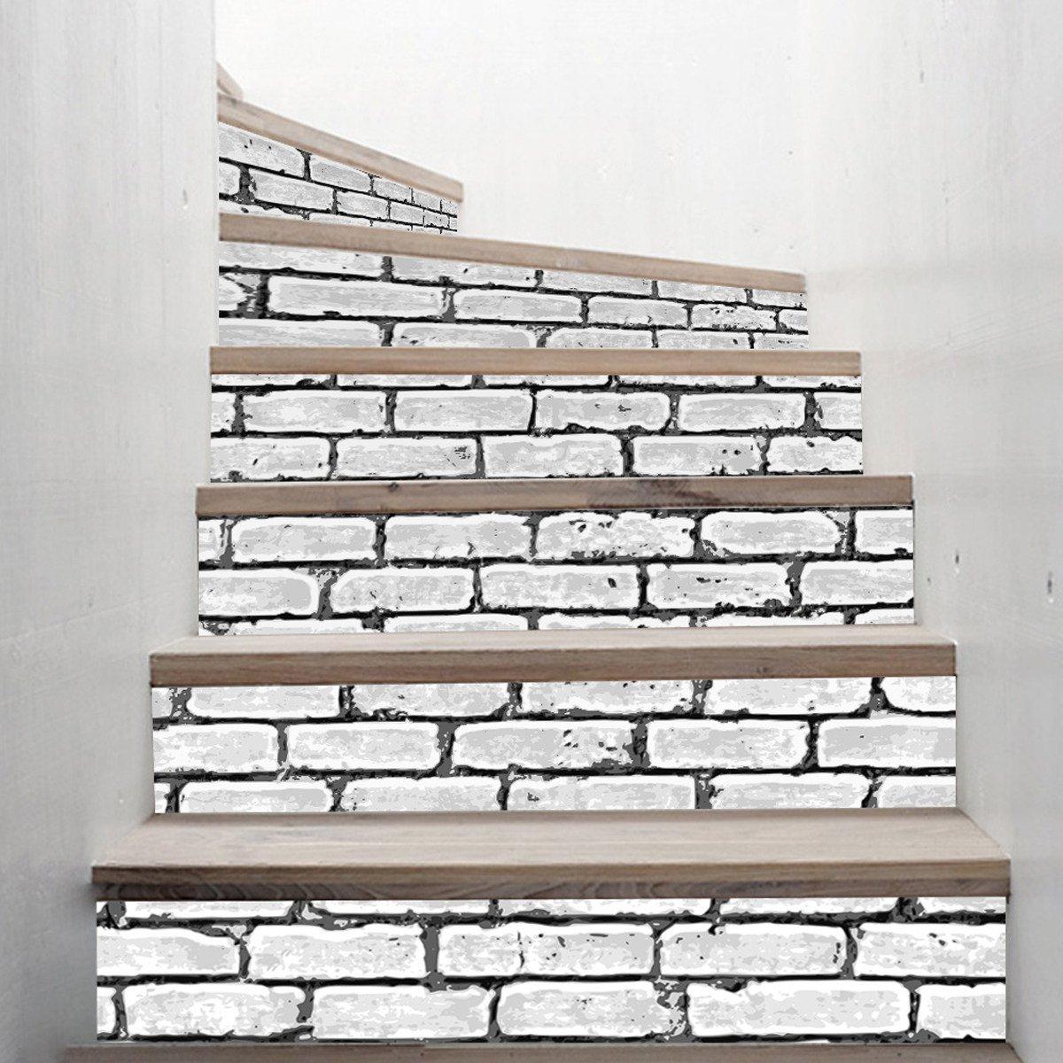 Treppen Aufkleber Mode Haus Selbstklebend 3D Treppen Aufkleber Weiß ...