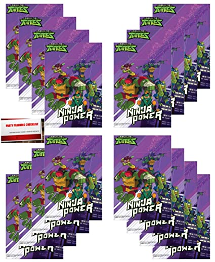 16 Pack Teenage Mutant Ninja Turtles Party Plastic Loot Treat Candy Favor Bags (Plus Party Planning Checklist Mikes Super Store)