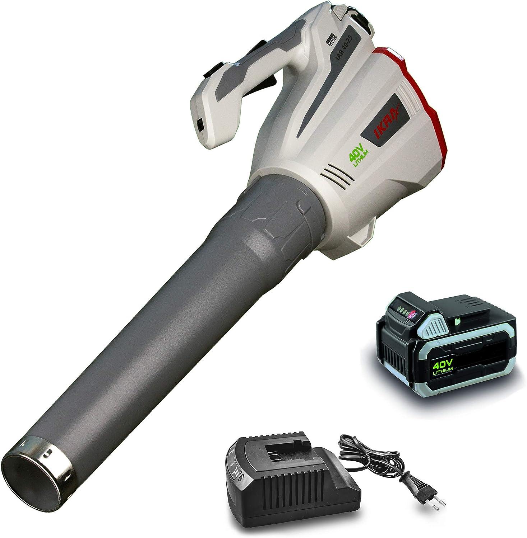 IKRA soplador a batería IAB 40-25, Incl. batería de 40V y Cargador, Interruptor Turbo MAX. 320 km/h