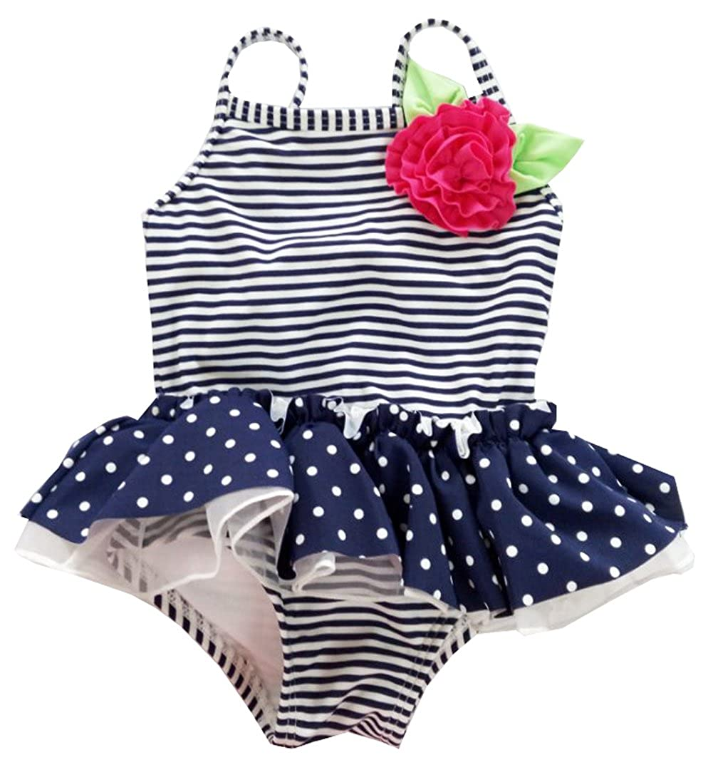 eKooBee Infant Baby Girls Swimwear One Pice Striped Polka Dot Navy Tutu Swimsuit