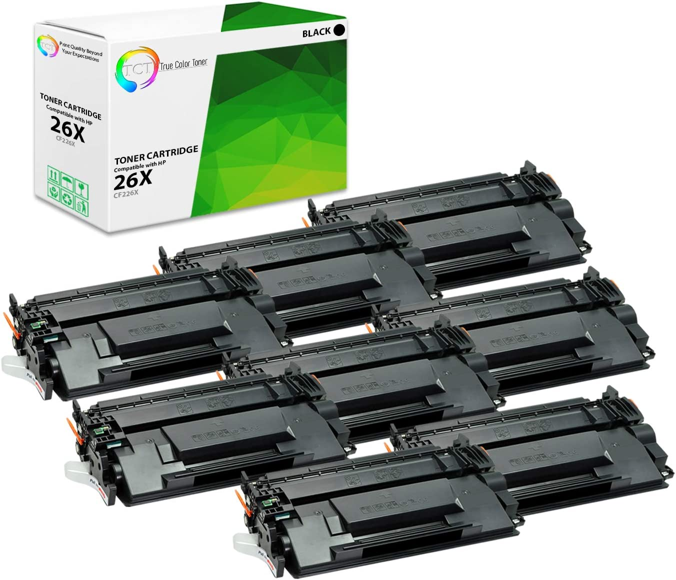 MFP M426DW M426FDN M426FDW Printers TCT Premium Compatible Toner Cartridge Replacement for HP 26X CF226X Black High Yield Works with HP Laserjet Pro M402D M402DN M402N - 8 Pack 9,000 Pages