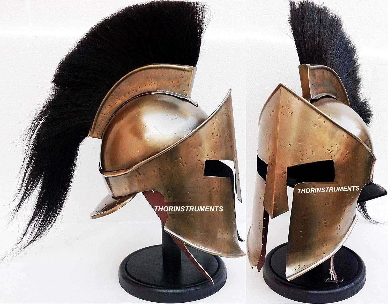 300 SPARTAN HELMET KING LEONIDAS MOVIE REPLICA HELMET MEDIEVAL FREE WOODEN STAND