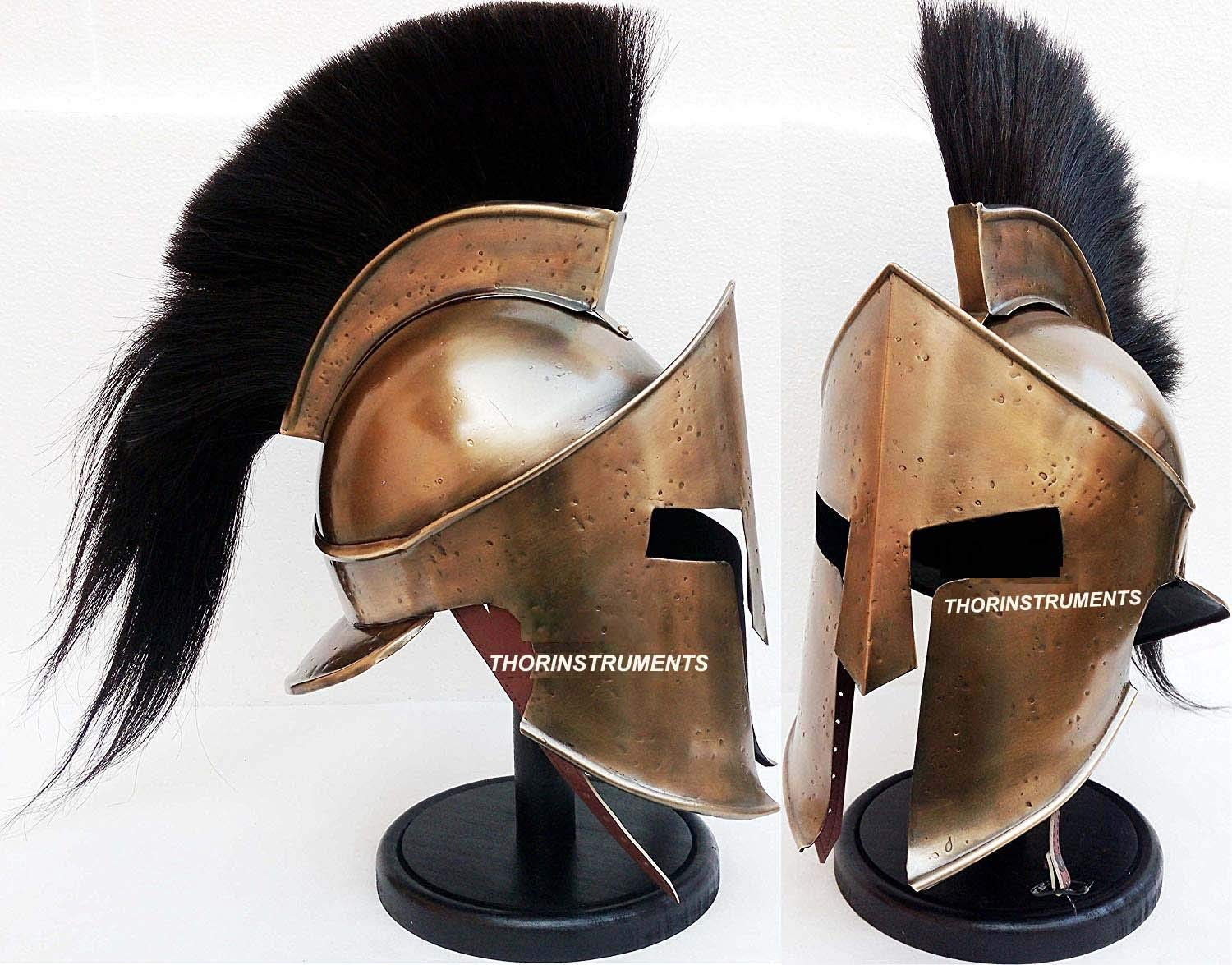 Medieval Armour King Leonidas Greek Spartan 300 Roman Helmet with Wooden Stand by THORINSTRUMENTS (with device)