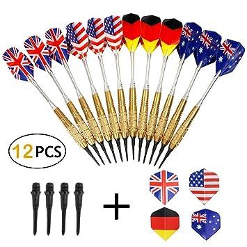 Yahee365 Wagner dardos flecha juego de dardos (12 pcs) con 100 puntas para guitarras eléctricas Diana: Amazon.es: Deportes y aire libre
