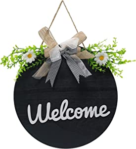 ZQXHUA Round welcome sign for front door Wooden hanging sign for front door wreath Welcome home sign Used for home decoration, Outdoor, Holiday, Gift 12×12 inches(Navy blue)