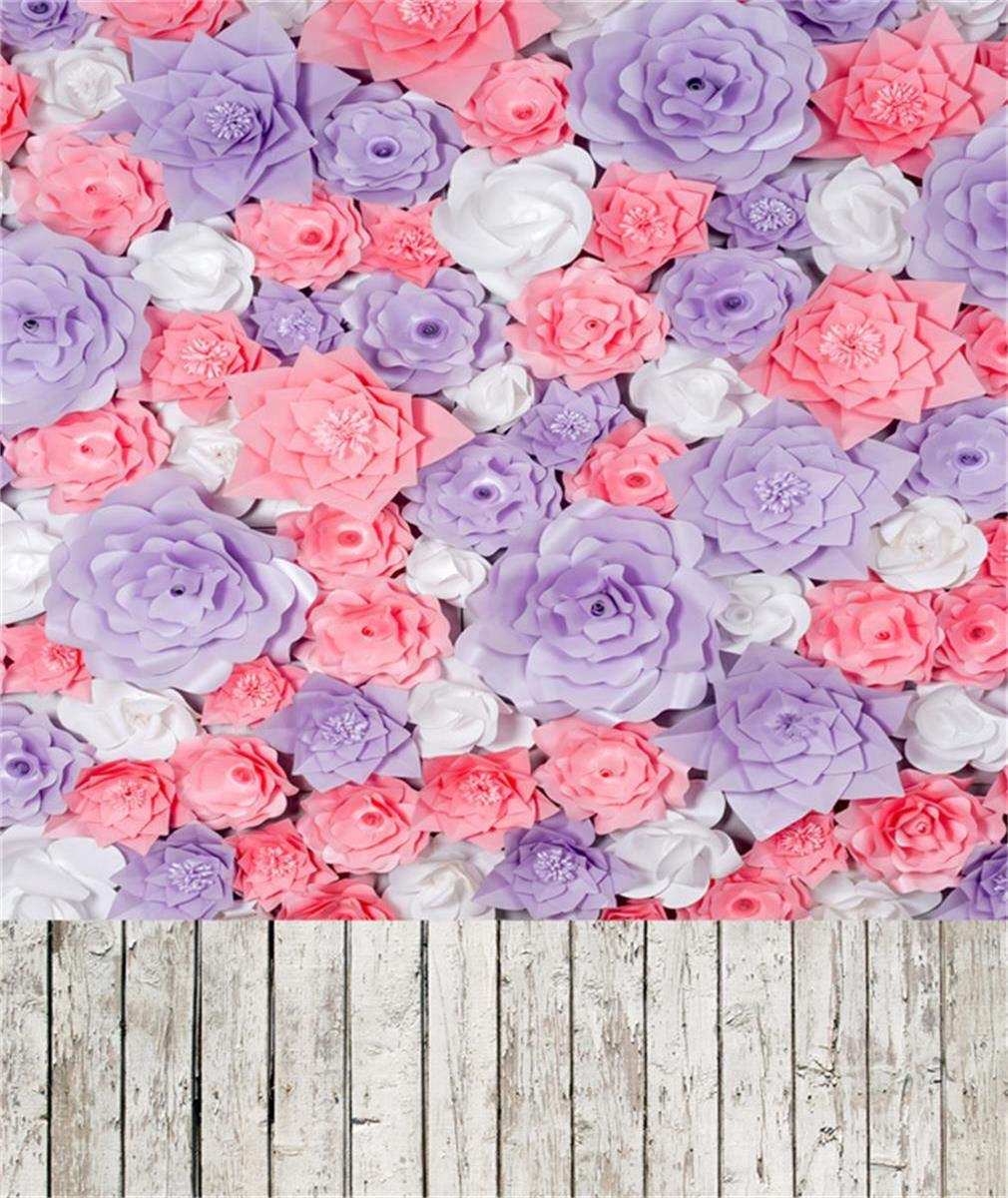 写真スタジオ小道具用背景幕 ピンクと紫のペーパーフラワー ベビーシャワー 写真撮影用背景 ビンテージ木製   B07GTY5KV5