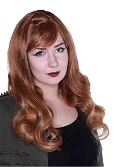 Prettyland C007 - peluca rizada ondulada larga de color marrón rojizo anaranjado con trenza peluca golpea