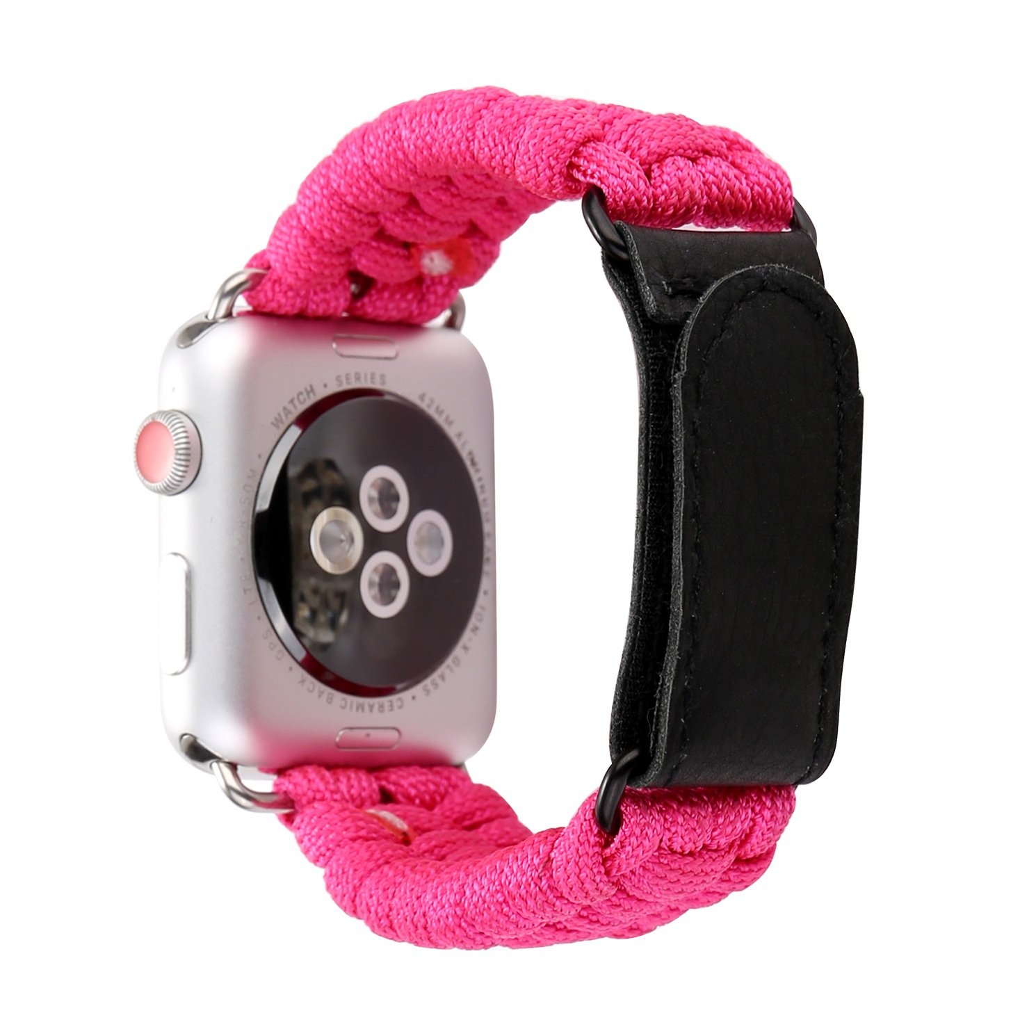 Juzzhou Band For Apple Watch iWatch Series 1/2/3 Sport Edition Braid Weave Plait Textile Replacement Wriststrap Bracelet Watchband Wrist Strap With Metal Adapter Magic Buckle For Woman Girls Red 38mm