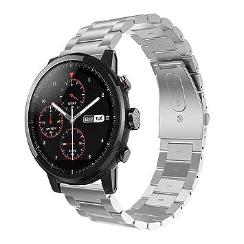 Saisiyiky Correa Compatible con Amazfit Xiaomi Huami Stratos 2 de Acero Inoxidable Reloj Banda Hebilla de Metal (Color Plata)
