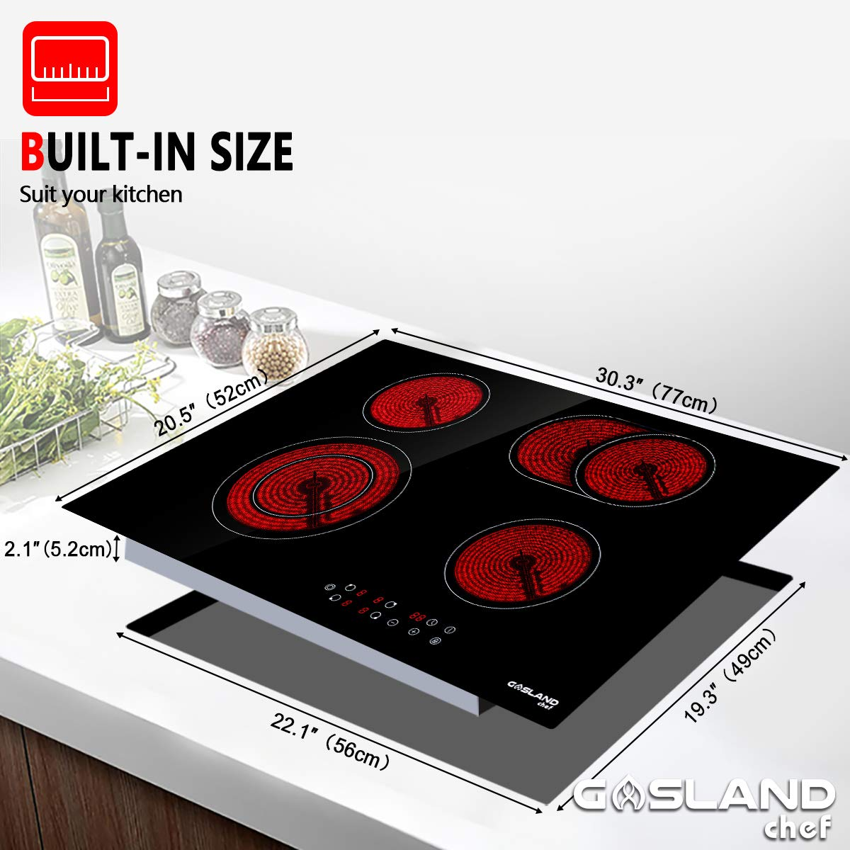 ETL Safety Certified Kids Safety Lock Easy To Clean Electric Cooktop Vitro Ceramic Surface Radiant Electric Cooktop Electric Stove With 4 Burners Gasland chef CH77BF 30 Built-in Electric Stove