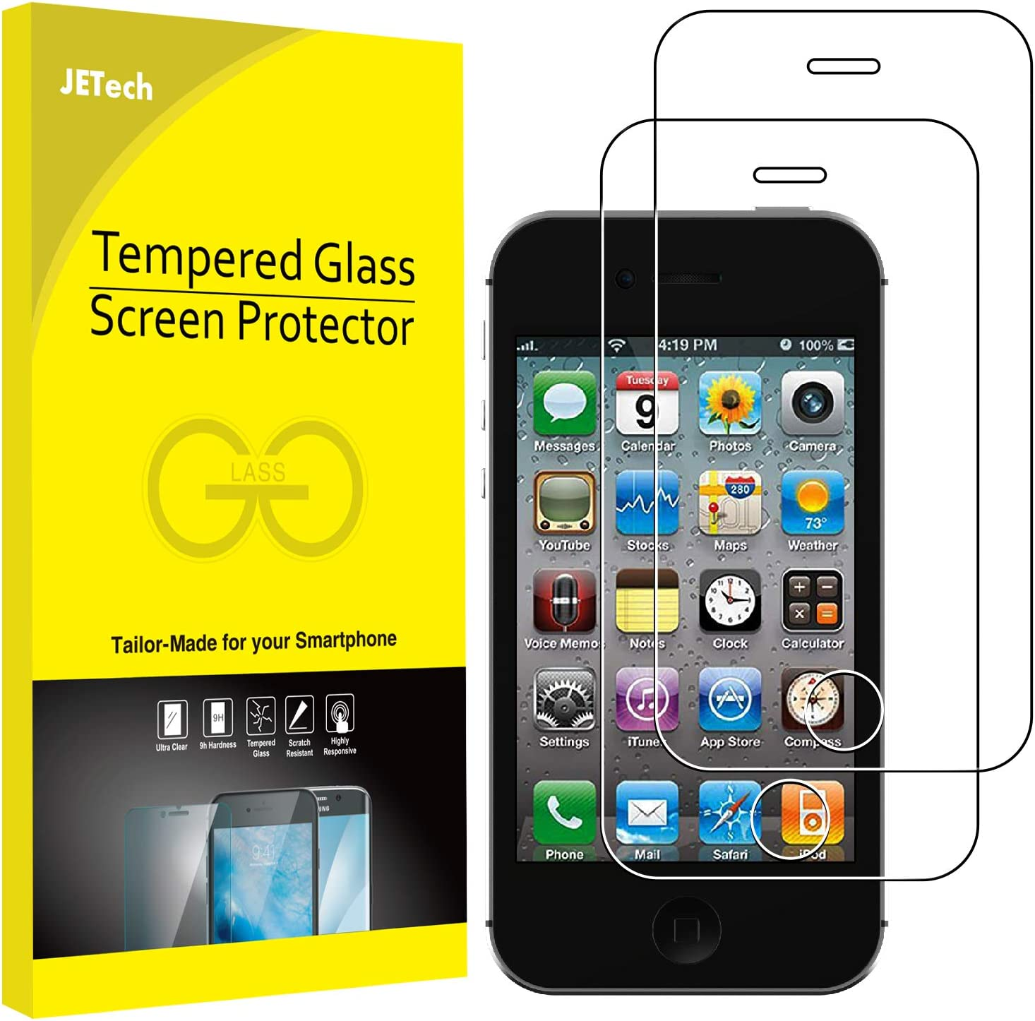 JETech 2-Pack Screen Protector for iPhone 4 and iPhone 4s, Tempered Glass Film