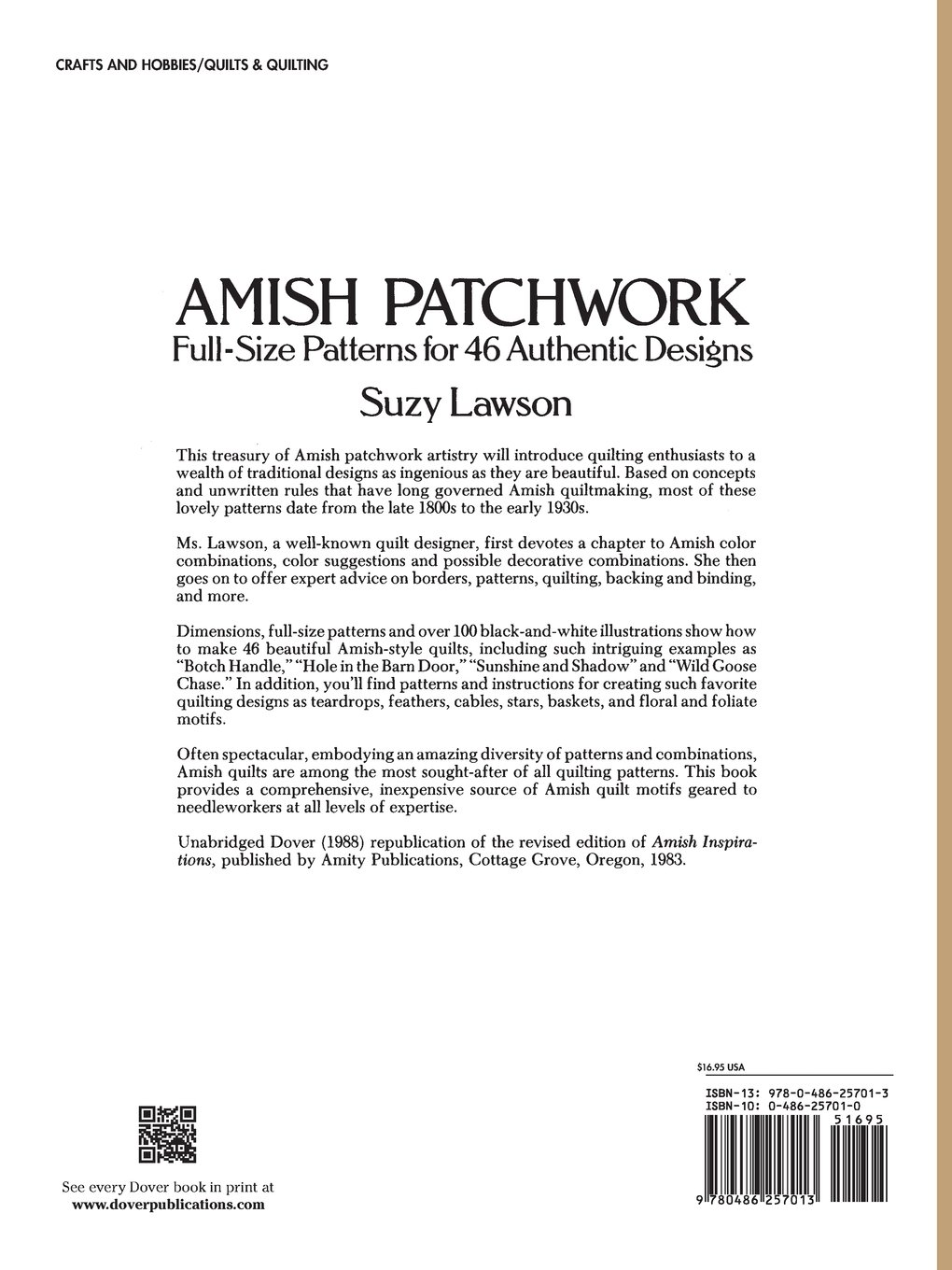 amish patchwork full size patterns for authentic designs amish patchwork full size patterns for 46 authentic designs dover quilting suzy lawson 9780486257013 com books