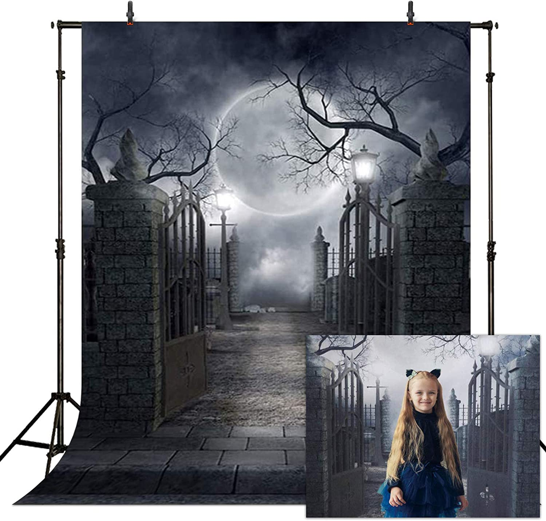 8x6ft Vinyl Halloween Theme Backdrop Gloomy Scene Photography Background Scary Graveyard Tombstone Wallking Corpse Festival Party Children Baby Portraits Photo Studio