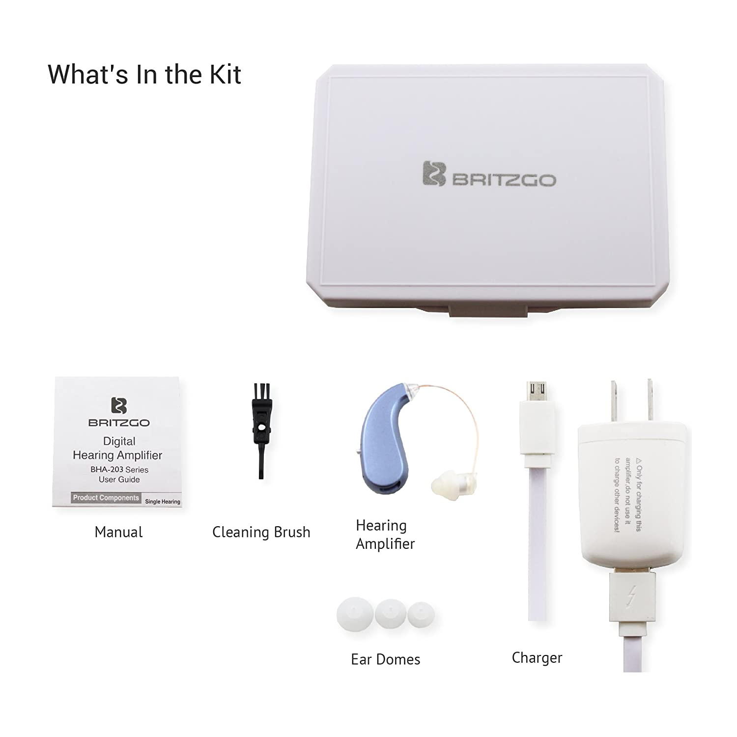 Britzgo Entry Level Rechargable Digital Hearing Living Aids Amplifiers Accessories Amplifier Bha 203 Blue 8 Ounce Health Personal Care