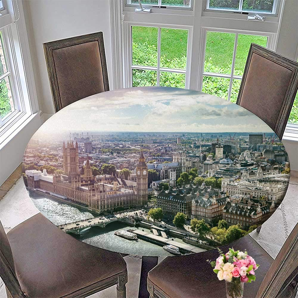 "PINAFORE HOME Modern Simple Round Tablecloth Ben Parliament Build and Westminster Bridge on River Decoration Washable 50""-55"" Round (Elastic Edge)"