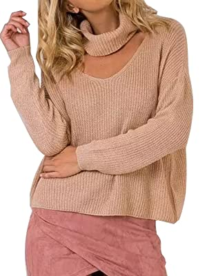 Choies Women Khaki Roll Neck Cut Out Front Ribbed Knit Turtleneck Pullover Jumper Sweater Tops Onesize