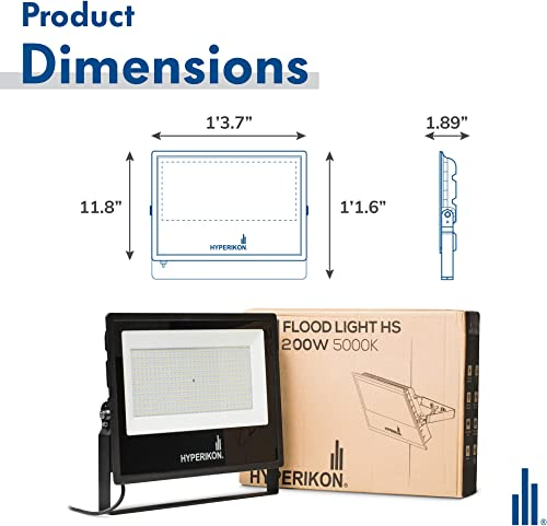 Hyperikon 200W LED Flood Light, 1000 Watt Equivalent , 5000K, 100-277v, ETL, DLC, 2 Pack